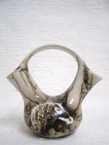 Native American Made Ceramic Horsehair Wedding Vase-Small