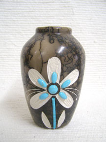 Native American Ceramic Horsehair Small Pots with Turquoise