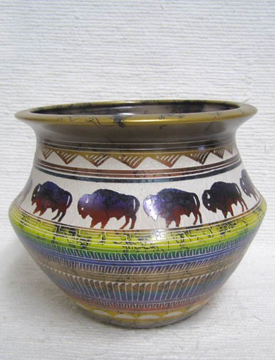 Fine Etched Horsehair Bowl with Buffalo