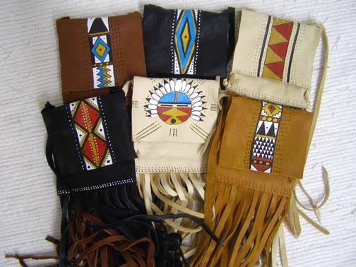 Cherokee Made Medicine Bag with Flap and Fringe