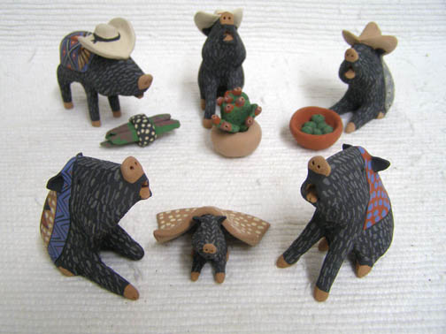 Mata Ortiz Handbuilt and Handpainted Javelina w/Hats Nativity