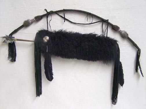 Cherokee Made Tibetan Lamb Quiver with Arrows-Black