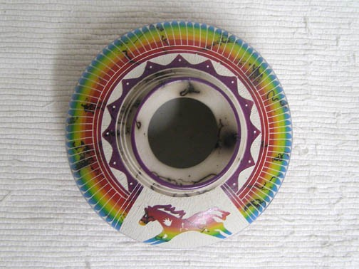 Navajo Fine Etched Horsehair Flat Bowl with War Pony