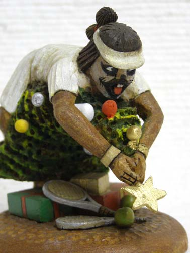 Native American Hopi Carved Clown Katsina - Christmas Tennis
