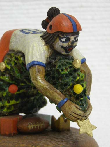 Native American Hopi Carved Clown Katsina - Christmas Football