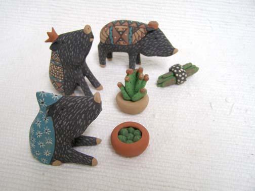 Native Pueblo Handbuilt and Handpainted Javelina Nativity