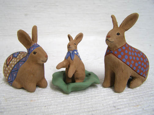 Native Pueblo Handbuilt and Handpainted Rabbit Nativity