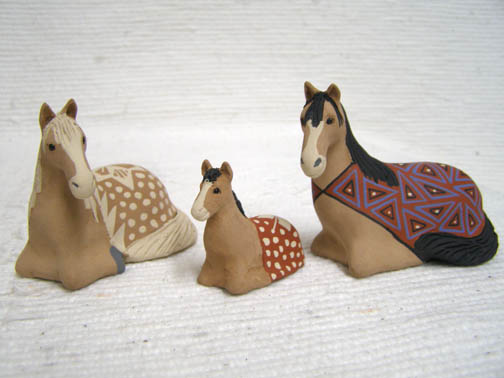 Native Pueblo Handbuilt and Handpainted Horse Nativity