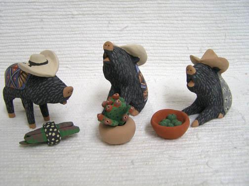 Native Pueblo Handbuilt and Handpainted Javelina Nativity with Hats