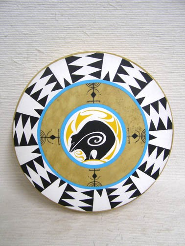 Native American Cherokee Made Painted Drum with Bear