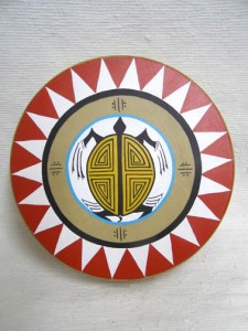 Cherokee Made Painted Drum with Turtle