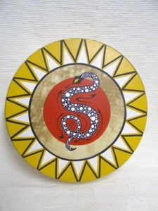 Cherokee Made Painted Drum with Snake