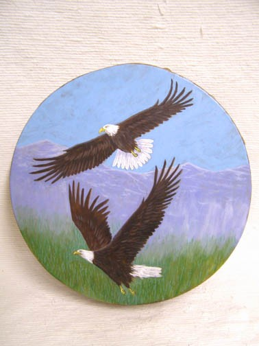 Native American Cherokee Made Painted Buffalo Drum with Eagles