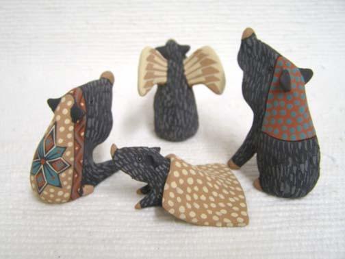 Mata Ortiz Handbuilt and Handpainted Javelina Nativity with Angel